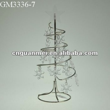 metal spiral christmas tree with small plastic snowflakes farmhouse decor - Small Metal Christmas Tree