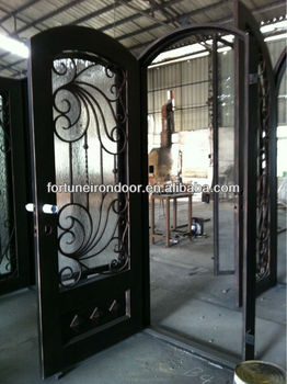 Wrought iron door designs arched exterior iron door with glass ...