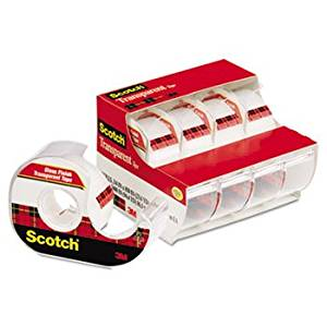 """Transparent Tape & Handheld Dispenser, 3/4"""" X 850"""", 1"""" Core, Clear, 4/pack"""