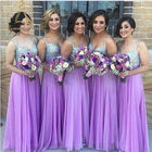 A Line Floor Length Chiffon Handmade Beaded Crystals Long Lilac Bridesmaid Dresses With Straps