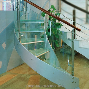 Metal Frame And Glass Tread Curved Staircase Indoor Stairs Designs