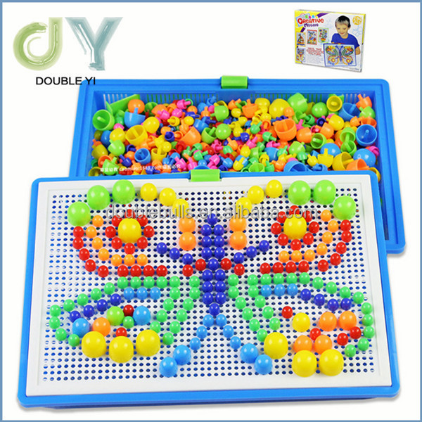 Plastic mosaic DIY mushroom puzzle toy nail puzzle toy for kids