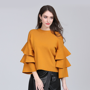 Women o-neck lose knitted pullover flare sleeve sweater