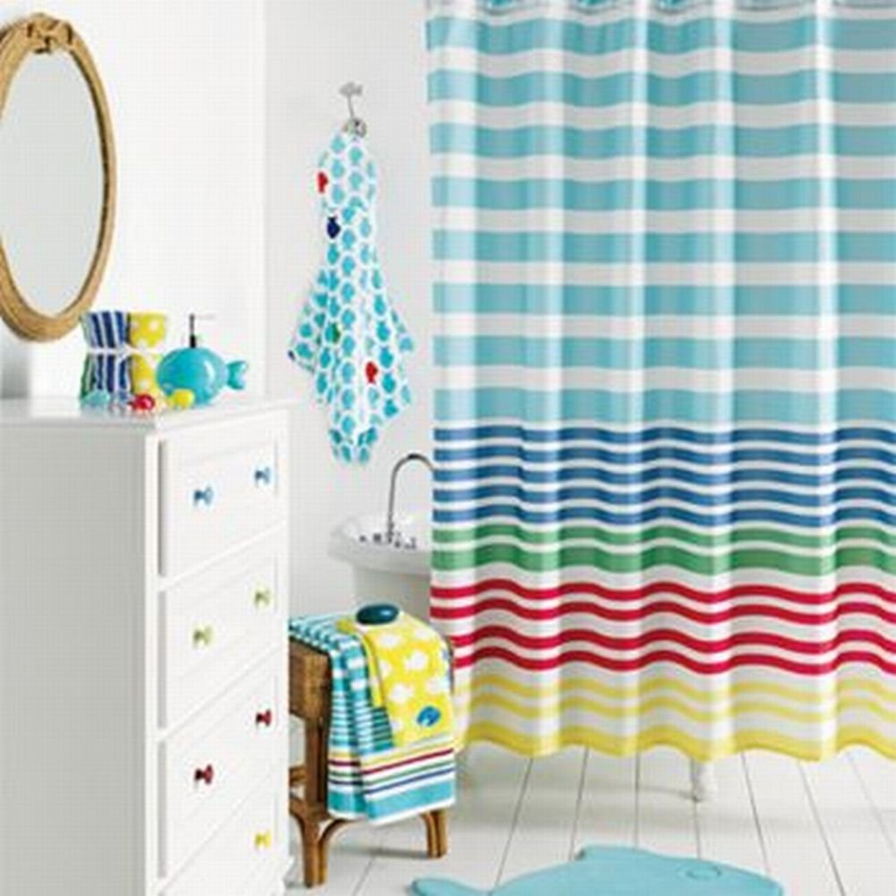 Get Quotations Jumping Beans Blue Red Yellow Stripe Fabric Shower Curtain Pretty Striped Bath