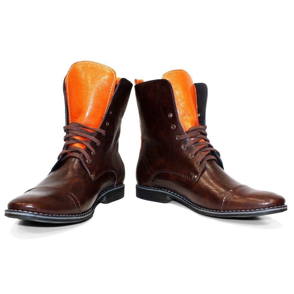 PeppeShoes Modello Groko - Handmade Italian Mens Brown High Boots - Cowhide Smooth Leather - Lace-Up