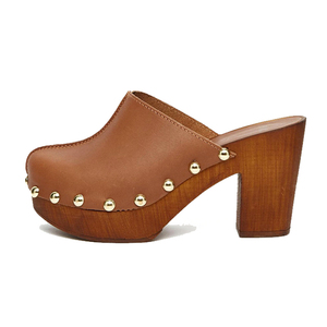 Camel genuine leather upper special rivet 7 cm wide high waterproof popular new fashion ladies closed toe slipper