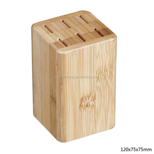 Decorative Bamboo Kitchen Counter Top Knife Block, Cutlery Storage Rack