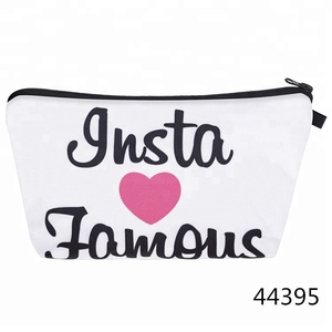 Blank canvas sublimation cosmetic bags travel makeup bags bulk