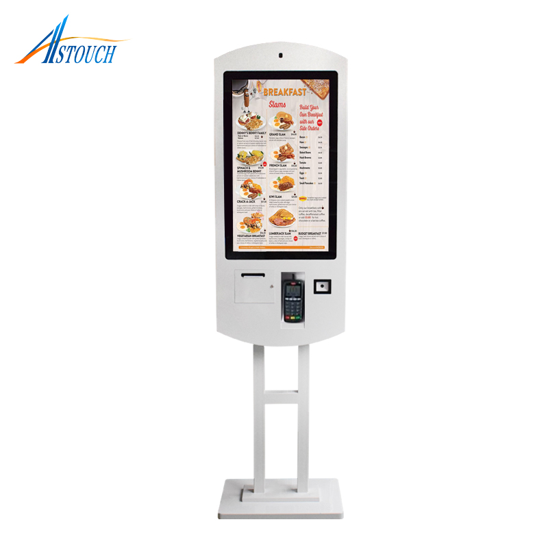 Restaurants and food court self ordering kiosk with wifi and pos payment