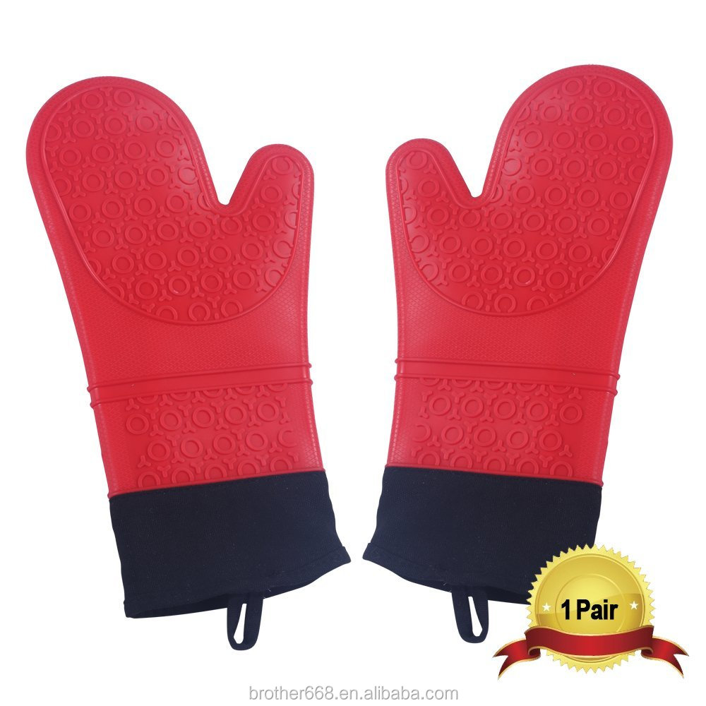 Factory Price MOQ 100PCS Silicone BBQ Gloves Heat Resistant Oven Mitts