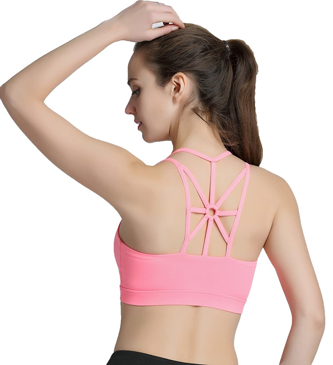 b7106c7a13886 Get Quotations · Hioffer Womens Light Support Cross Back Wirefree Pad Yoga Sports  Bra Double Lined T-Back
