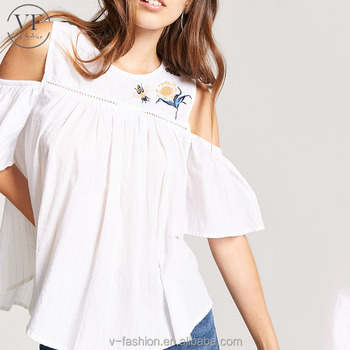763cc759aaef98 High quality short sleeve cold shoulder embroidery designs ladies tops