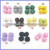 Men's Hand Made Round String Elastic Chinese Silk Knots French Cuff Links Sleeve Buttons