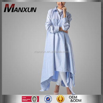 de5bc778 New Arrival Kaftan Dress Islamic Designer Women Abaya Muslim Tunic Dress  Light Blue Jilbab Blouse Shirt