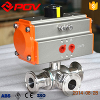 Clamp type sanitary 3 way pneumatic ball valve