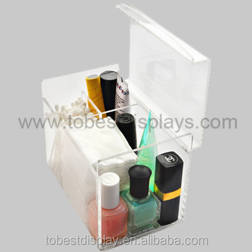 handmade high clear storage small clear acrylic boxes with lids/acrylic cosmetic box/clear acrylic compartment display box