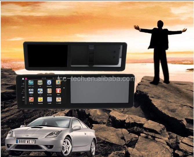 Drop ship car gps rear view mirror,audio player support MP3/WMA