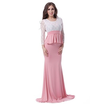 Pink White Lace Y Lady Latex Wedding Party Dress