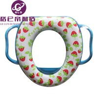 GLD Hot Sales Image Printed Color Elongated children Closed Front Soft Toilet / WC Seat Flowery Color Soft Toilet Seat for baby