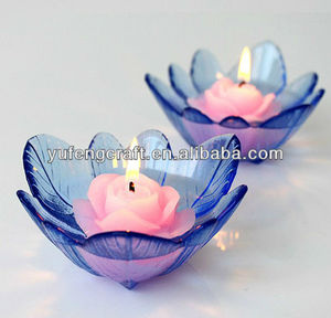 blue lotus flower shape candle holder