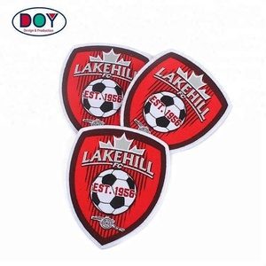 Badges Maker Iron on Custom Football Club Name Logo Soccer Jersey Woven Crest Patches for Uniform
