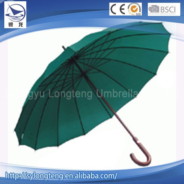 16 steel ribs made in China gift wood straight golf umbrellas wholesale