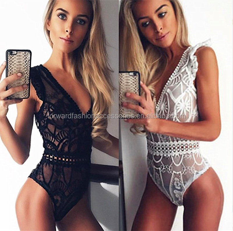 Dames V Profond Teddy Sexy Transparent Babydoll Adulte Dentelle Lingerie