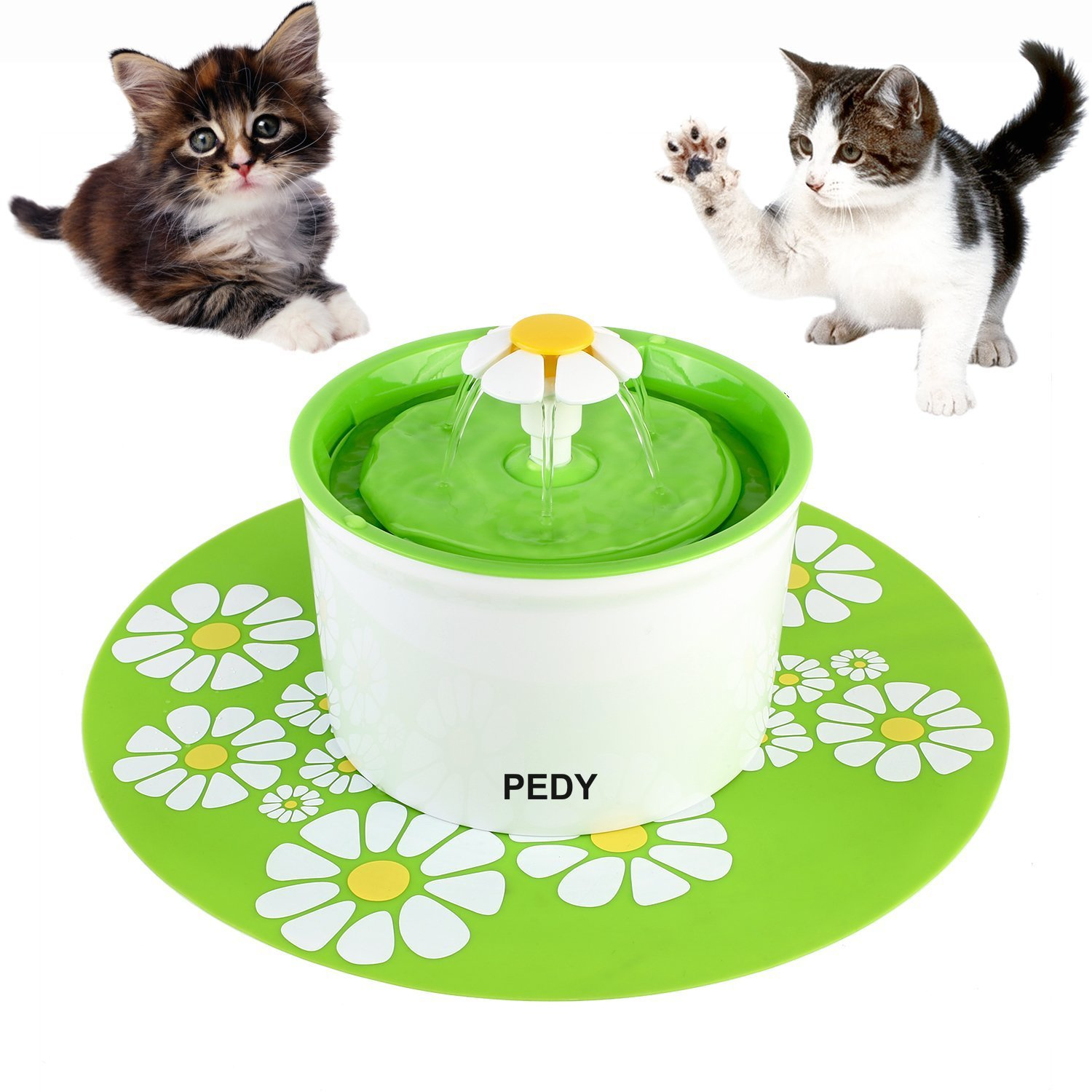 Pedy Cat Water Fountain Flower Fountain, Automatic Pet Water Dispenser, Pet Water Fountain for Cats and Dogs with Filter & Silicone Mat, Green