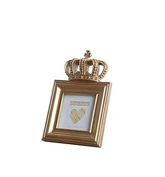 Gold Color Luxury Style Crown Shape Resin Picture Frame 4x4 Inch Square Bachelor Style Wall Hanging