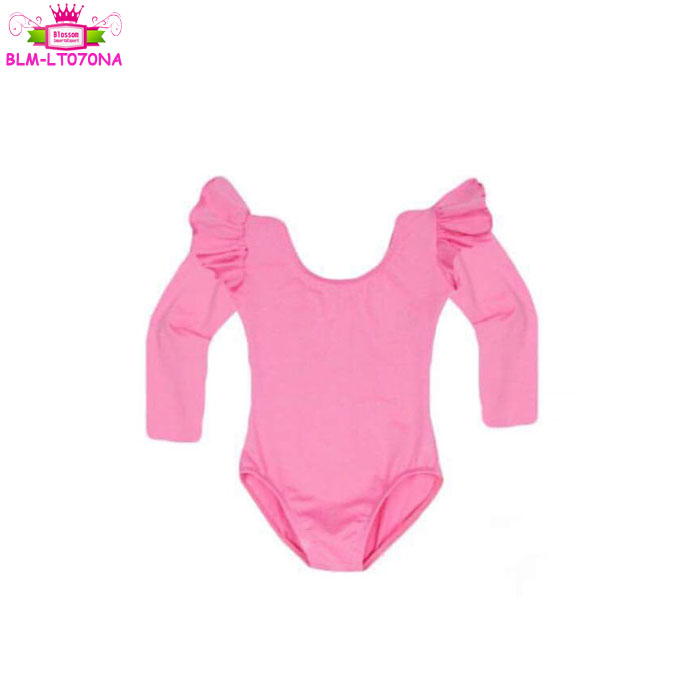 Kid One Piece Gymnastic Stretch Leotard Bodysuit Long Sleeve Ballet Costume