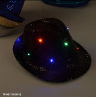 2017 NEW Woman Man Kids Sequins Light LED Hip Hop Jazz Hats Cap Flashing Party Supplies Wedding Halloween