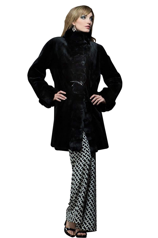 EM-EL Women's Reversible Black Sheared Mink and Chinchilla Mid-Length Fur Coat