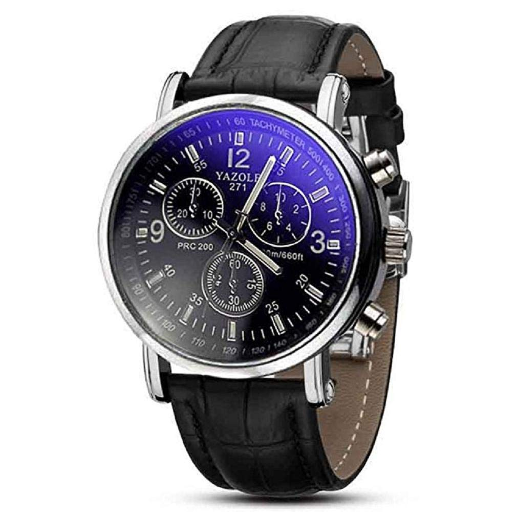 Women Quartz Watches,Windoson Green Dial Rotatable Bezel Sapphire Glass Luminous Hand Quartz Mens Womens Stainless Steel Watches (black)