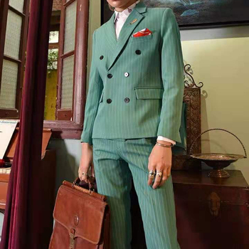 Spring Small Suit Suit Men's Green Stripe Double-row Button Net Red Suit