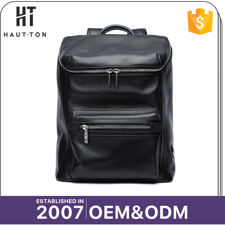 New Stylish Fashion Man Black Travel Laptop Backpack Bags Hot Sale Professional Genuine Top Cow Leather Backpack For Men