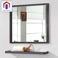 Black Framed Rectangle Bath Metal Wall Mirror Shelf Bathroom Wall Mirror With Shelf
