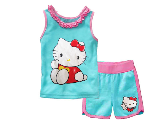 a228736b6 Buy Summer Style Sleeveless Cartoon Hello Kitty Cotton Kids Pajamas ...