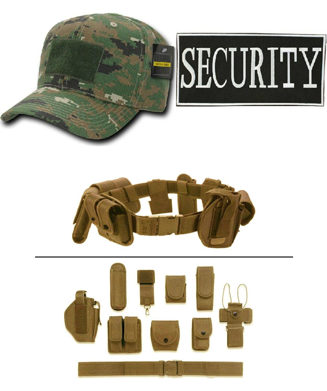 Woodland Digital Cap + ENFORCEMENT ID SECURITY + Tan Duty Belt Holster