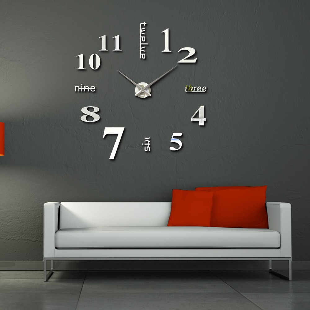 Hot selling 3d frameless large diy sticker wall clock for home hot selling 3d frameless large diy sticker wall clock for home decoration amipublicfo Choice Image