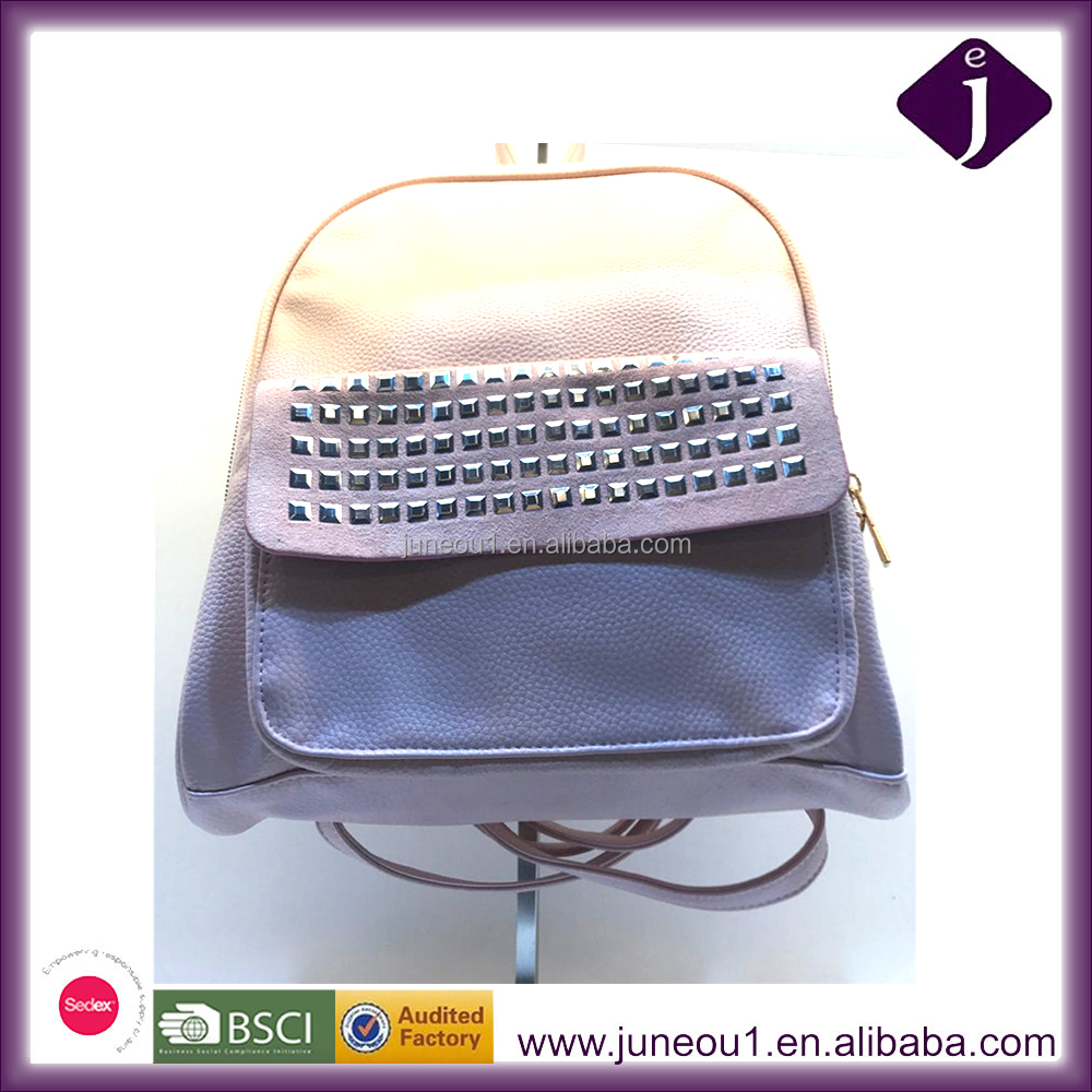 Light Pink Pu Leather School Backpack Bag with Rivet Decorative for College Student