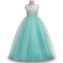 Костюм для подростков детская одежда платье для девочек 2020 праздничное платье принцессы для девочек, кружевные свадебные платья с цветочны...(China)