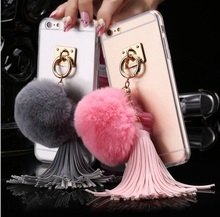 For iphone 6 6s / Plus Case Fundas Rabbit Fur Ball Tassels Metal Ring Cases Soft Girly Coque Cover For Iphone 4s 5s 5c 4.7 6plus