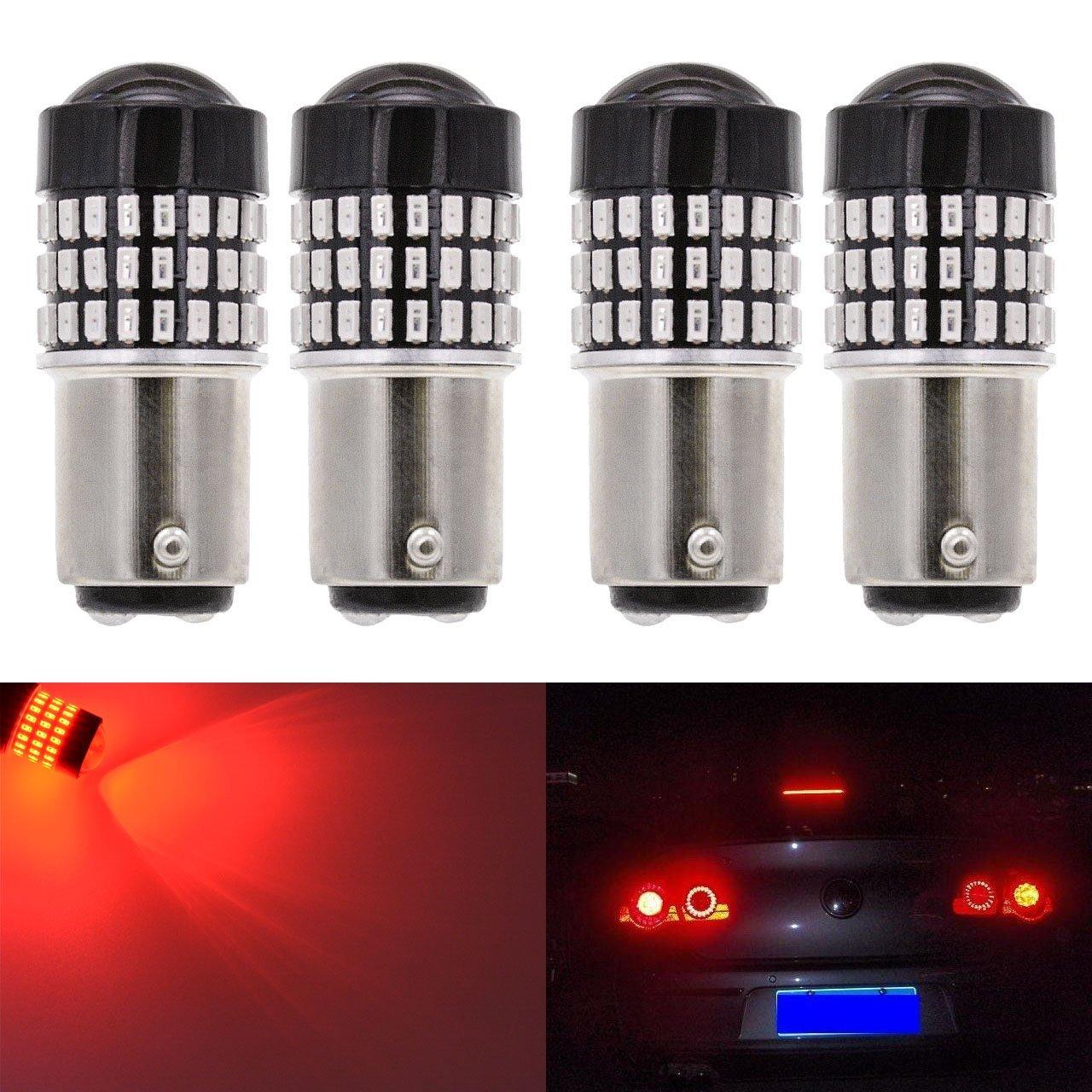 KaTur 4pcs 900 Lumens 1157 BAY15D 1016 1034 7528 Base Super Bright 3014 78SMD Lens LED Bulbs Brake Turn Signal Tail Backup Reverse Brake Light Lamp Red 12V 4W