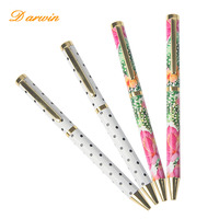 2017 good business idea metal ballpoint pens decorative pattern promotional pen advertisement sample art supplies