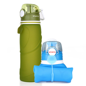 Kean bpa free Portable Silicone drinking sports water bottle/Collapsible Water Bottle for kids