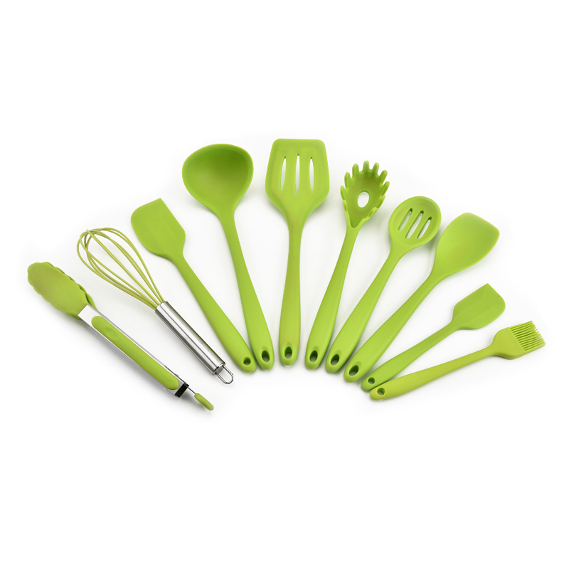 10 piece kitchen utensils set FDA silicone kitchen Utensils multifunction environmental protection cooking tools 10sets