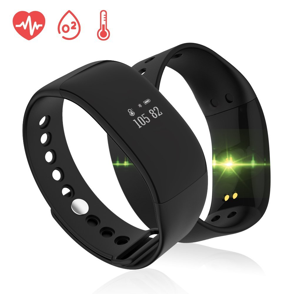 Waterproof Bluetooth Sport Bracelet Fitness Tracker Pedometer with Heart Rate/Sleep Monitor Smart Watch with Distance/Calorie/Step Counter/Remote Camera/Touch Button (Black)