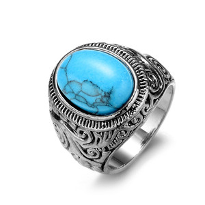 2018 LAN CUI Fashion Jewelry Wholesale Vintage Gemstone Turquoise Titanium Steel Men's Ring Carved Ring