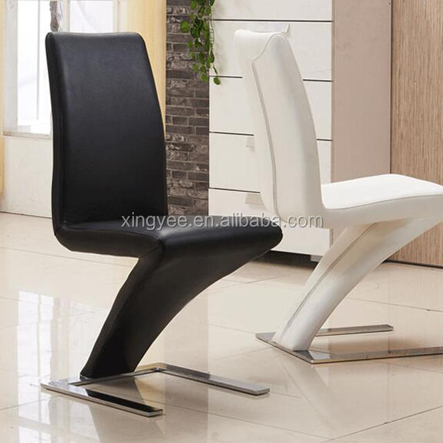 Modern Dining Table And Chair Furniture Black Italian Genuine Leather Designer Z Chromed Steel Base