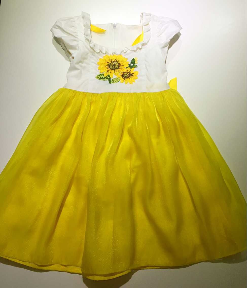 Baby Girls High Quality gold Embroidery Flower Girl Dresses kids Wedding  Party Dress 2-8yrs